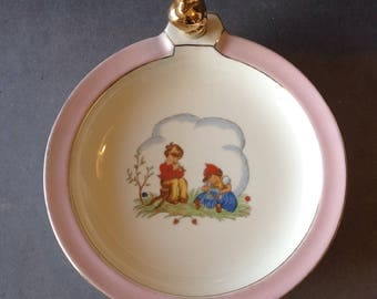 Vintage baby plate. French baby plate with cap. Heating baby plate.  plate with stopper. Porcelain baby plate
