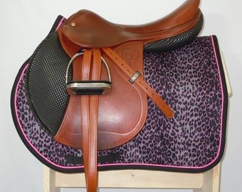 "Pink Leopard All Purpose English Saddle Pad for up to 17.5"" saddles READY TO SHIP"