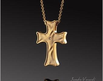 Designer cross pendant by SANDRO VACA in 925 Silver 24 K Gold PL/N019-G-W