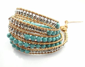 Charming Turquoise Stone Beaded Leather Wrap Bracelet - multi use accessory