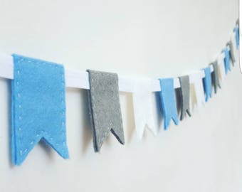 Blue nursery bunting, nursery garland, flag bunting, blue garland, blue nursery garland, felt garland, fabric bunting, blue bunting