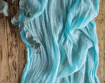 Aqua Gauze Runner for Weddings and Events, Centerpieces Runner, Cheese cloth Runner, Table Hand Dyed runner, Cotton Scrim, Cheesecloth