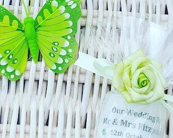 Wedding personalised candle favours. Wedding gift memento