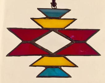 "Stained glass sun catcher ""navajo"" red, with bevel, 12 x 15 cm"