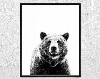 Bear Print Bear Poster Wall Art Print Animal Print Bear Art black and white nursery animal wall art nursery animal print
