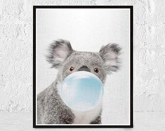 Koala Print, Koala printable, Animal Portrait, Nursery Animal Print, Nursery Decor, Gift for kids, Australian Animal Art, Nursery Printable