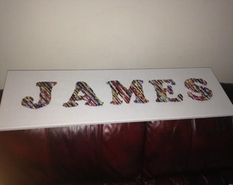 Personalized name wall hangings on canvas