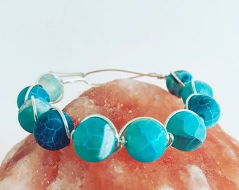 Sterling silver and agate bracelet, silver beaded bracelet, wire bracelet, healing bracelet, blue beaded bracelet