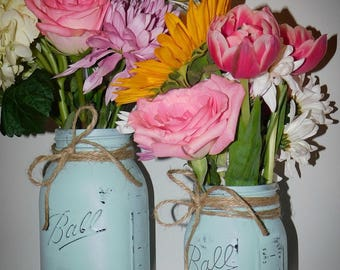 Painted mason jar vases (set of 2)