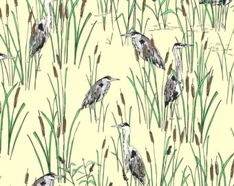 Heron Print 100% Cotton Fabric from Imprint by Jane Makower