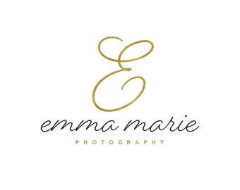 Gold Initial Logo / Gold Monogram Logo / Photography Logo / Gold Script Logo / Modern Logo / Simple Logo / Name Logo / Wedding Logo Design