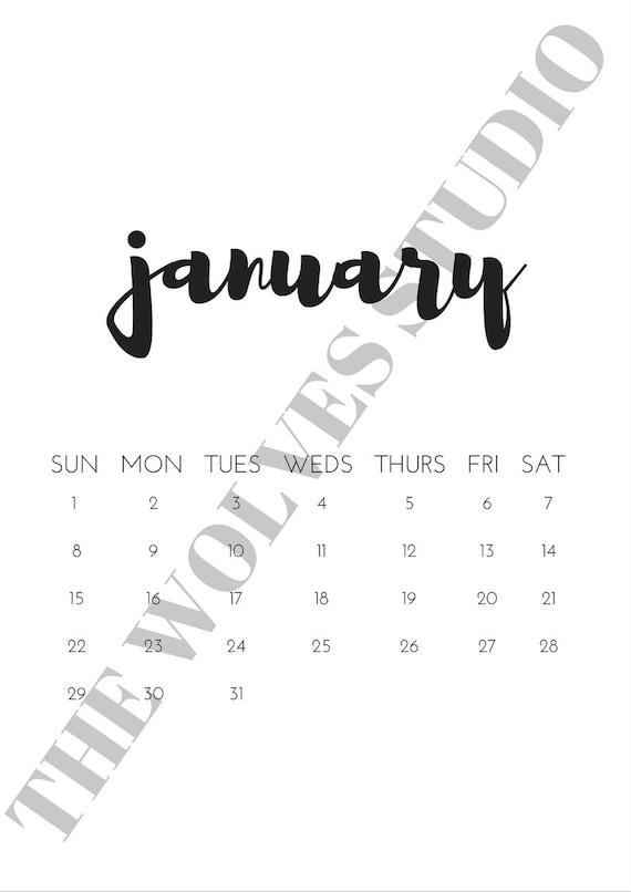 Typography Printable Calendar : Minimalist typography calendar by thewolvesstudio on etsy