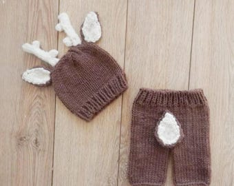 Crochet Baby Deer Outfit, Great for Newborn Pictures