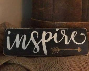 inspire - Wooden Sign- Hand-Painted