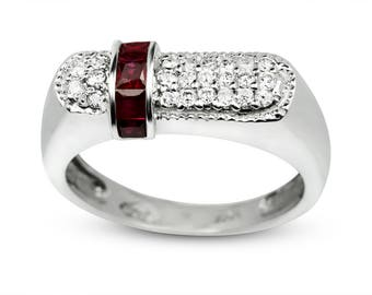 Unique Vintage 0.72 Carat Round Cut Diamond & Ruby Women's Wedding Band / Anniversary Ring In 14k White Gold