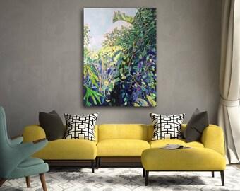 Original Acrylic Painting Jungle Art Tropical Plant Painting Vibrant Art Wall Decor Jungle Painting