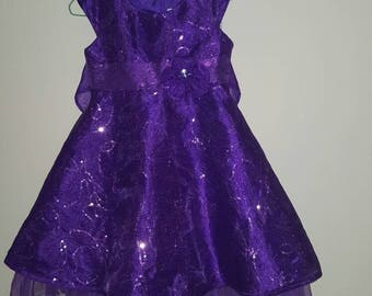 Purple flower girl dress,party dress