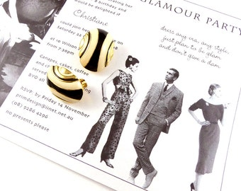 1960's earrings, bold earrings, clip ons, sixties style, vintage, 60's theme party, jewellery, yellow and black earrings.