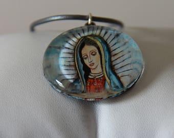 """Virgen de Guadalupe Pendant Necklace on 18"""" Leather Cord - FJ 29"""