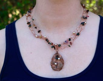 Copper Leaf Beaded Necklace - FJ 57