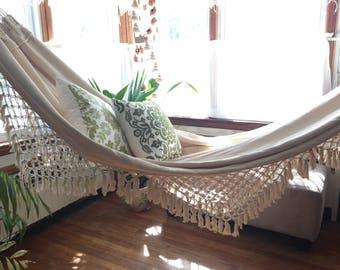 White Hammock, double size. Outdoor hammock. Hand Woven.  Soft Cotton hammock with Bell Fringe, wedding gift, wedding decoration