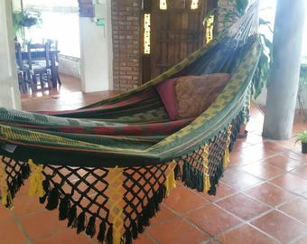 Green hammock, Hand Woven 100% Cotton with hand made Bell Fringe, patio decoration, double hammock