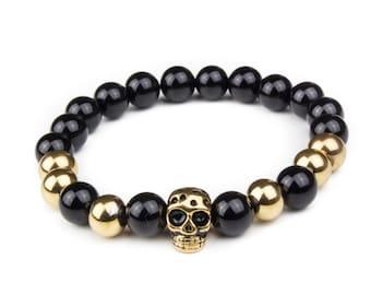 Skull Bracelet - Black & Gold