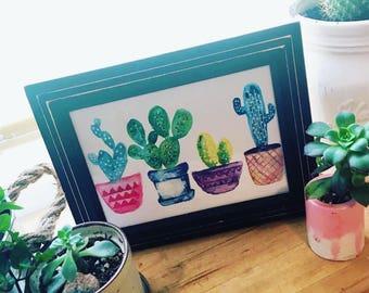 WATERCOLOR CACTUS PRINT, Cute Succulent Wall Art, Succulent Print, Cacti print, Succulent Wall Decor, Plant Painting, Nature Decor art print