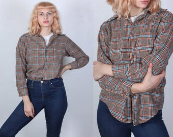 Vintage Plaid Shirt // 70s 80s Button Up Shirt Long Sleeved Top Women's - Small