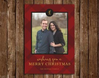 Red Plaid Merry Christmas/Holiday Photo Card - DIY Printable PDF