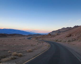 Matted, Color Photograph Print of Badwater Road, Death Valley, California