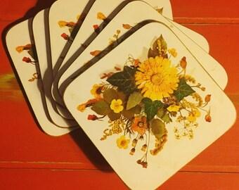 1970s Floral Cork Coaster Set