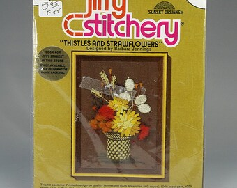 DIY Crewel Embroidery Kit, Jiffy Stitchery, Sunset Designs, Thistles and Strawflowers, Vintage Stitchery Kit, Do It Yourself, Gift for Her