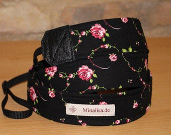 Camera strap camera strap black rose pink vine camera strap