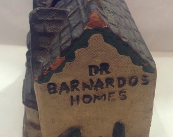 vintage Dr Barnardo's charity collection money box early papier mache