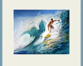 Surfing watercolor, Wave Art, Ocean  Painting, Ocean art , Watercolor painting, Watercolour ocean, Wall decor, Ocean art, Surfer Gift Ideas