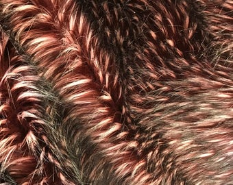 "Burgundy Wild Wolf Shaggy Faux Fur Fabric By The Yard Long Pile 60"" Width"