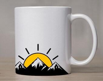 11 oz Mountain Sunrise Coffee Mug   Coffee Cup   Mountain Wrap Mug   Rise and Shine Mug