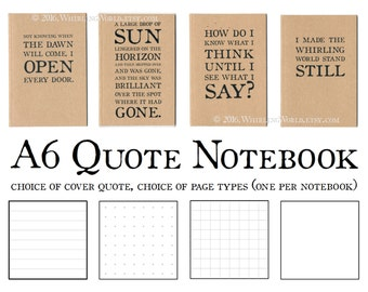 Literary Quote Notebook - A6 Kraft Cahier Insert, Fauxdori Field Notes   Recycled Bullet Journal   Gift for Writer   Ruled Grid Plain Pages