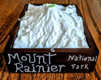 Mt. Rainer National Park Tograpical 3D Printed Model with decorated wood finish