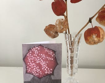 Fine Art Greeting Card: Sakura no Kasa