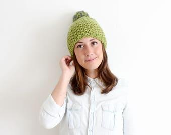 Knit Chunky Wool Pom Pom Hat / LOVE TEXTURE BEANIE / Green & Grey Pom Pom Texture Winter Hat