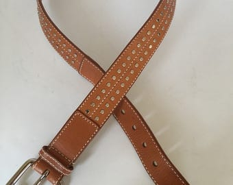 Quality Express Women's tan stitched wide thick studded leather belt large roller logo buckle, size 33-35
