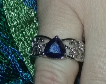 Blue Sapphire Ring,Sterling Silver,Marked  .925, Size 6
