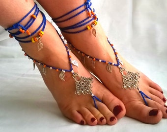 Barefoot Sandals, Blue Barefoot Beach Jewelry