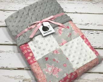Bunny baby blanket baby girl blanket baby shower gift crib blanket girl baby shower patchwork quilt Pink blanket Pink and Grey shower