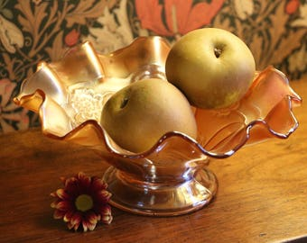 1930s 'carnival glass' bowl, with Tudor rose design; glass fruit bowl; vintage fruit bowl; iridescent glass fruit bowl