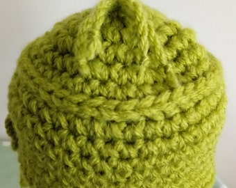 A Hand Crocheted Green Winter Hat