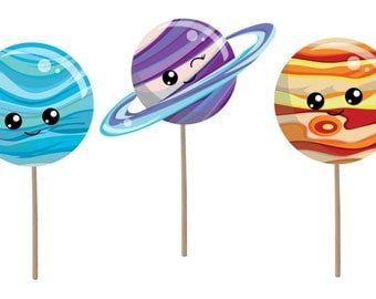 Cupcake Topper, Birthday cupcake topper, space cupcake topper, space theme, birthday party, solar system birthday, planets, party supplies