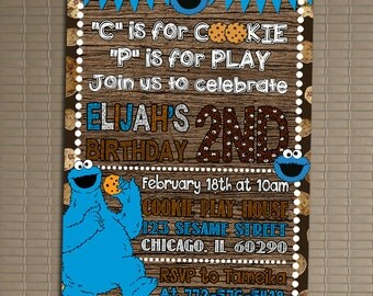 Cookie Monster Invitation, You Print Invitation, Sesame Street Birthday Invitation, Sesame Street Invite, Cookie Monster Birthday Invitation